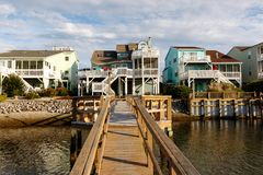 Vacation rental cottages on the canal royalty free stock photography