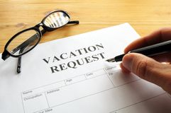 Vacation request. Form in business office showing holiday concept Royalty Free Stock Photo