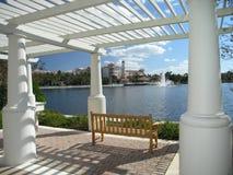 Vacation Resort bench & Trellis stock photography