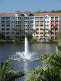 Vacation Resort Buildings Fountain & Lake Royalty Free Stock Photography