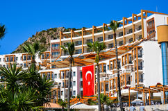 Vacation resort with the flag of Turkey. Vacation holiday resort complex in Bodrum ,Turkey with the flag of Turkey royalty free stock photography