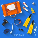 Vacation and rest theme. flat style objects. Vacation and rest theme. Bright illustration in trendy flat style with some objects with long shadows using modern Royalty Free Stock Images