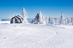 Vacation rural winter background with small wooden alpine house, white pines, fence, snow field, mountains Royalty Free Stock Photo