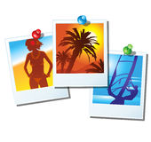 Vacation's pictures. Vector vacation's pictures are attached with pins Royalty Free Stock Images