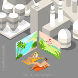 Vacation during sanctions concept. Young couple la. Ying in polluted city bordered with tropical beach resort posters. Flat 3d isometric style web site vector Royalty Free Stock Photos