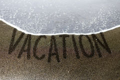 Vacation sand writing royalty free stock images