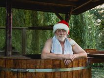 Vacation of Santa Claus. Sauna and bath in the garden. Relax ti royalty free stock image