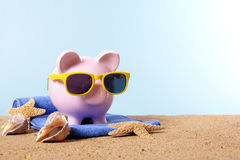 Vacation savings, travel money planning concept, Piggy Bank Stock Photos