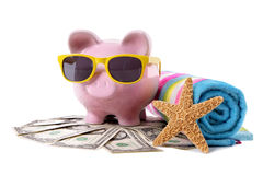 Vacation savings, travel money planning concept, Piggy Bank Royalty Free Stock Images