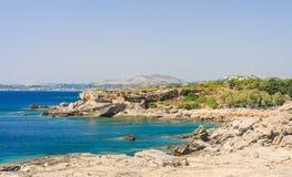 Vacation at sea. Bay of Kalithea (Kalithea). Rhodes Island. Gree Royalty Free Stock Photo