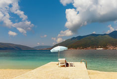Vacation on the sea. Bay of Kotor near Tivat city in spring.  Montenegro Stock Photo