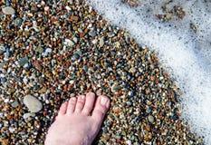 Sea wave beach foot royalty free stock photography