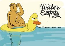 Water safety. Fat man in a rubber ring. royalty free illustration