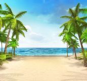 Sandy beach seaside with tropical palms Stock Image