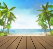 Wooden deck with tropical palms background. Vacation at sea 3D background illustration Stock Photography