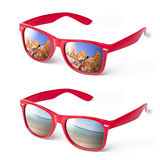 Vacation Sea Mountain Glasses Spectacles Red Royalty Free Stock Photos