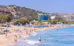 Vacation at sea. The resort of Faliraki. Rhodes Royalty Free Stock Photography