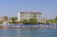 Vacation at sea. The resort of Faliraki. Rhodes Island. Greece Royalty Free Stock Photo