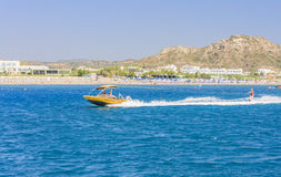 Vacation at sea. The resort of Faliraki. Rhodes Island. Greece Royalty Free Stock Photos
