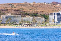 Vacation at sea. The resort of Faliraki. Rhodes Island. Greece Royalty Free Stock Images