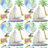 Vacation seamless pattern. Hand draw illustration Royalty Free Stock Photo