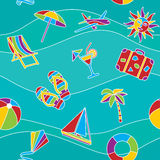 Vacation seamless pattern. Summer vacation seamless pattern in flat mosaic style royalty free illustration