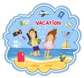 Vacation at the seaside vector illustration Royalty Free Stock Photography