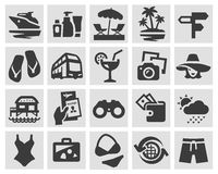 Vacation set black icons. signs and symbols Stock Photography