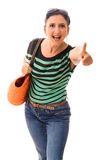 Vacation shopping beautiful woman thumb up Stock Photos