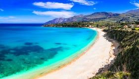Vacation in Sicily island. Beautiful beach Scopello, Italy Royalty Free Stock Photos