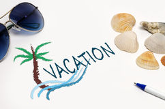 Vacation sign close up on Royalty Free Stock Image