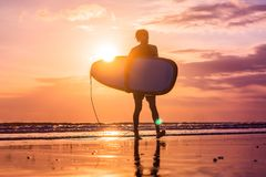 Vacation Silhouette Of A Surfer Carrying His Surf Board Home At. Sunset With Copy Space Royalty Free Stock Images