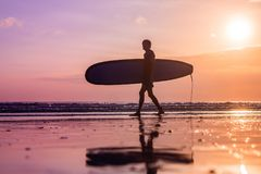 Vacation Silhouette Of A Surfer Carrying His Surf Board Home At. Sunset With Copy Space Royalty Free Stock Image