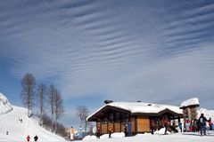 Vacation sky. Ski-resort with amazing sky, Red Field, Sochi, Russia Stock Photo