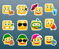 Vacation smile stickers set Stock Images