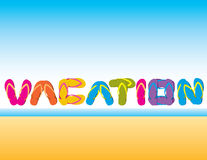 Vacation spelled in flip flops. Illustration of the word vacation spelled out in flip flop sandals.  Available in vector format Stock Photography