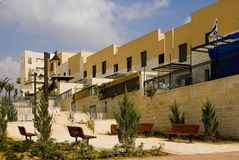 Vacation spot. New quarter, ladders and benches for rest in the city of Modein, Israel Royalty Free Stock Image