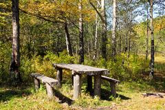 Vacation spot in autumn wood Royalty Free Stock Images