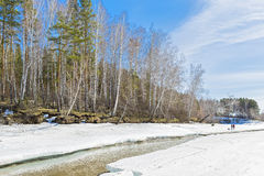Vacation on the spring river. Siberia, Russia Royalty Free Stock Photo