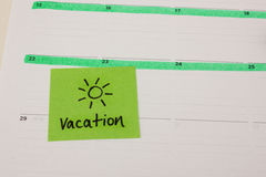 Vacation sticky note Royalty Free Stock Photography