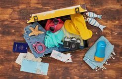 Vacation Suitcase From Above Stock Image