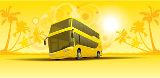 Vacation summer bus. Isolated Vacation summer bus on the artistic colorful background Stock Images