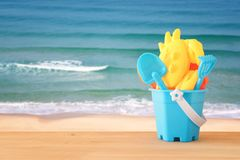 Vacation and summer image with beach toys for kid. Vacation and summer image with beach toys for kid Royalty Free Stock Photography
