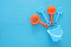 Vacation and summer image with beach toys for kid. Vacation and summer image with beach toys for kid Stock Images