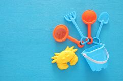 Vacation and summer image with beach toys for kid. Vacation and summer image with beach toys for kid Royalty Free Stock Photo
