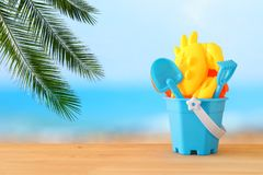 Vacation and summer image with beach toys for kid. Vacation and summer image with beach toys for kid Royalty Free Stock Image