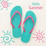 Vacation and summer image with flipflops over white wooden background. Vacation and summer image with flipflops over white wooden background royalty free stock image