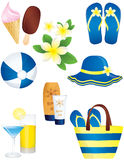 Vacation and summer items. Set of eight summer and beach icons isolated on white background Royalty Free Stock Image