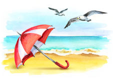 Vacation. Summer lifestyle on the coast. Healthy living concept. Watercolor. Illustration Stock Photos