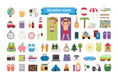 Vacation and summer rest flat icons Stock Photography